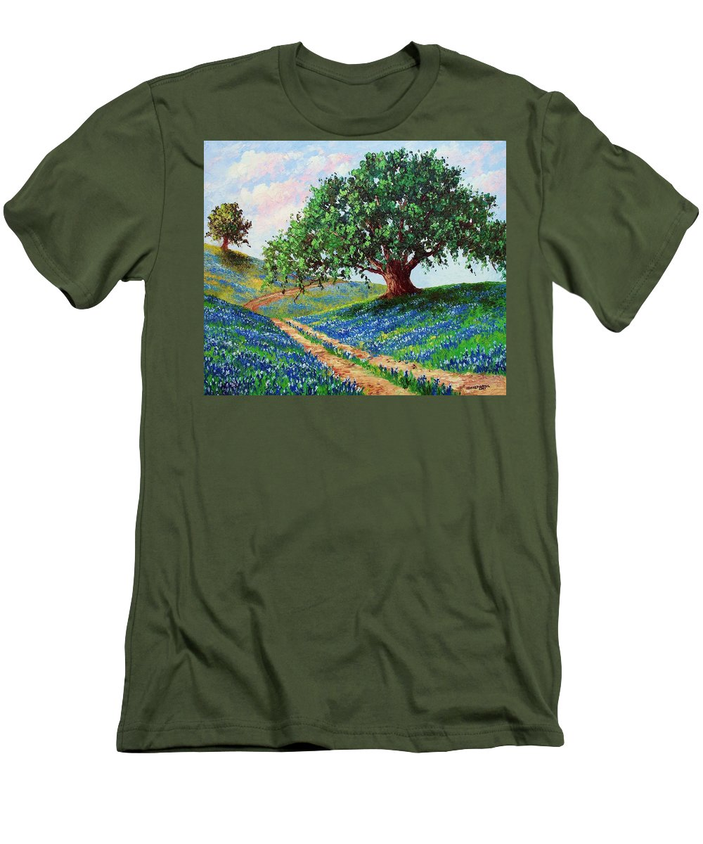 Bluebonnet Men's T-Shirt (Athletic Fit) featuring the painting Bluebonnet Road by David G Paul