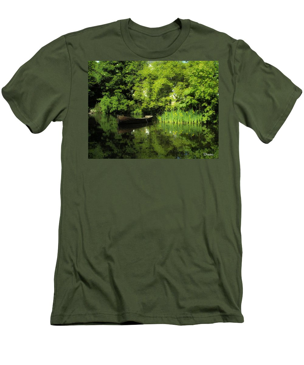 Irish Men's T-Shirt (Athletic Fit) featuring the digital art Boat Reflected On Water County Clare Ireland Painting by Teresa Mucha