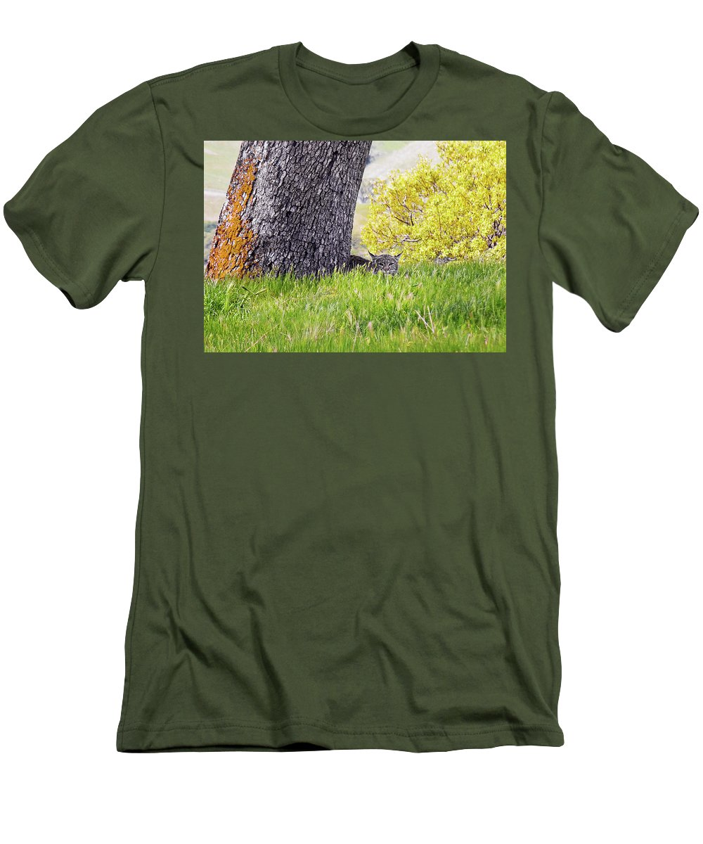 Landscape Men's T-Shirt (Athletic Fit) featuring the photograph Bobcat Watch by Karen W Meyer