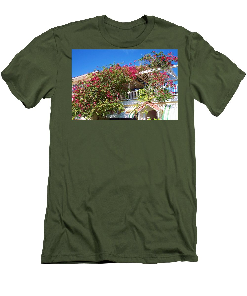 Flowers Men's T-Shirt (Athletic Fit) featuring the photograph Bougainvillea Villa by Debbi Granruth