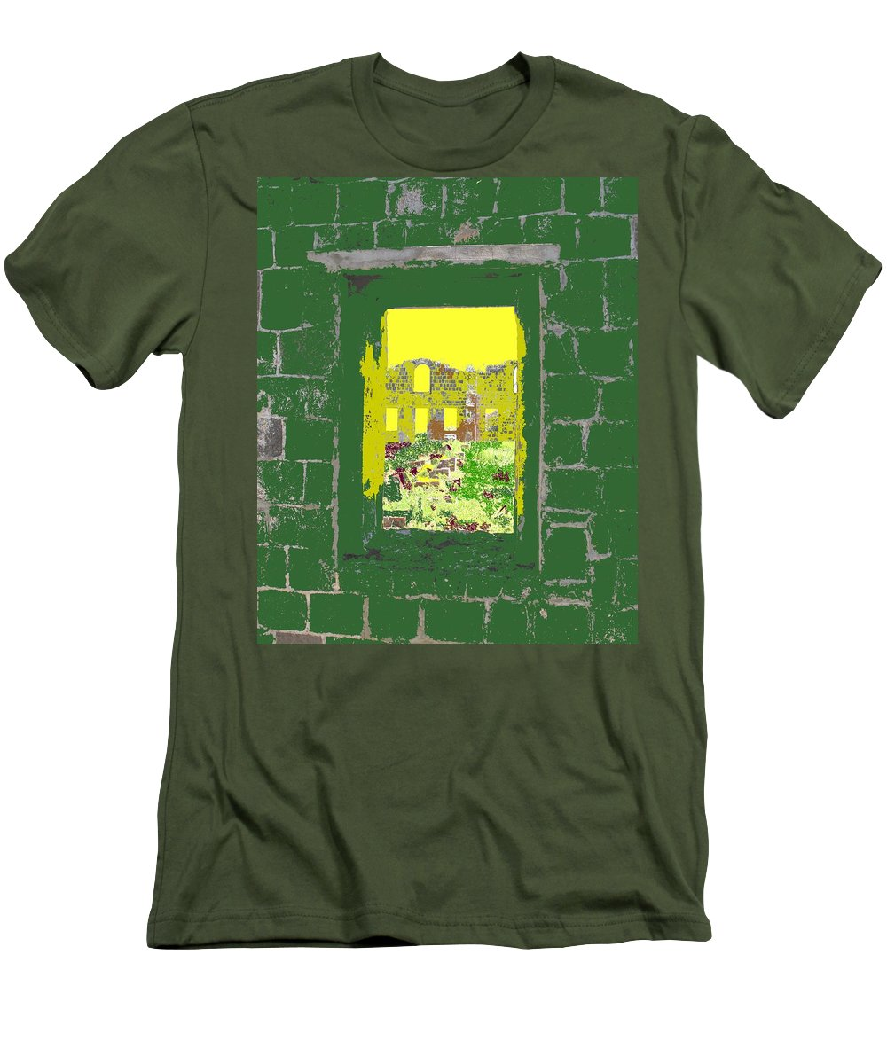 Brimstone Men's T-Shirt (Athletic Fit) featuring the photograph Brimstone Window by Ian MacDonald