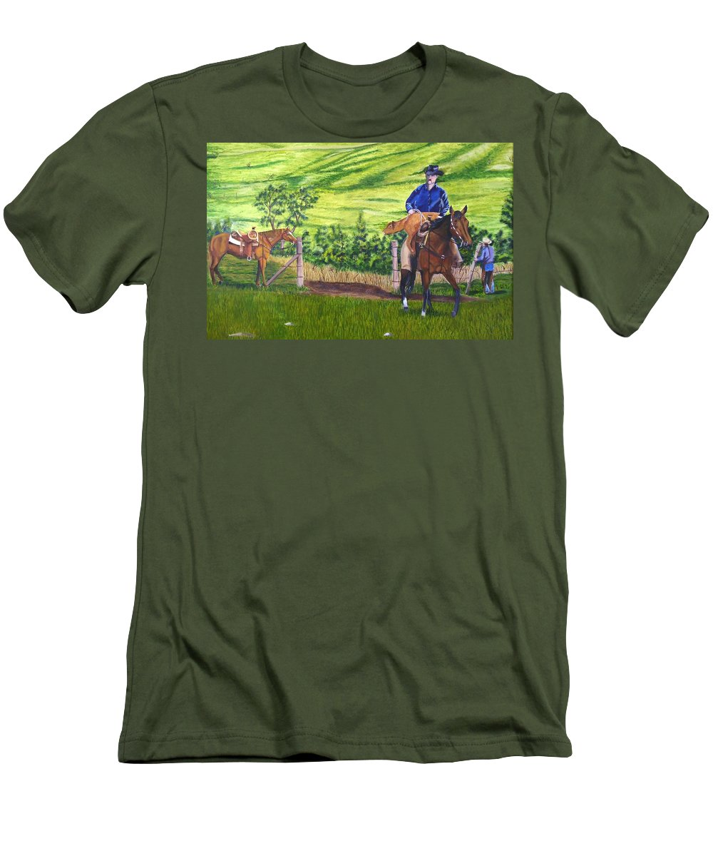 Cowboy Men's T-Shirt (Athletic Fit) featuring the painting Bringin by Mendy Pedersen