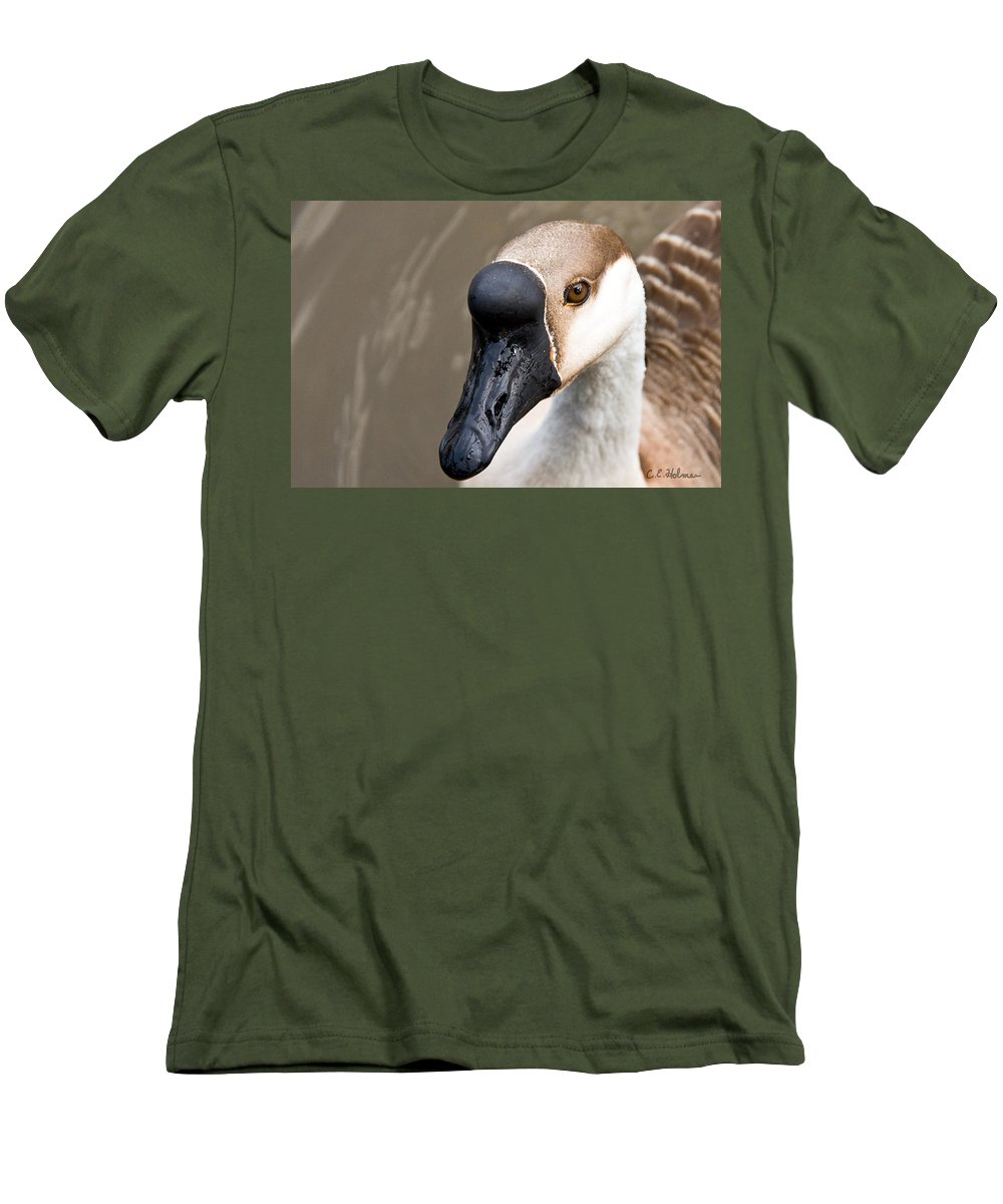 Chinese Brown Goose Men's T-Shirt (Athletic Fit) featuring the photograph Brown Eye by Christopher Holmes