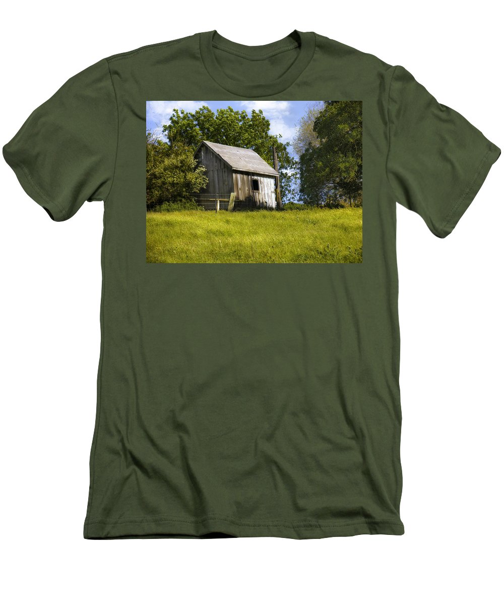Landscape Men's T-Shirt (Athletic Fit) featuring the photograph Brushy Peak Cabin by Karen W Meyer