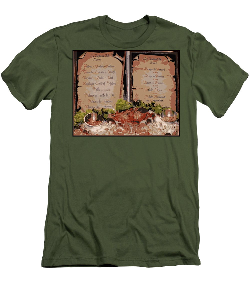 Brussels Men's T-Shirt (Athletic Fit) featuring the photograph Brussels Menu - Digital by Carol Groenen