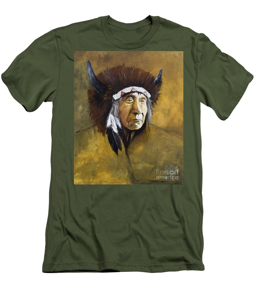 Shaman Men's T-Shirt (Athletic Fit) featuring the painting Buffalo Shaman by J W Baker