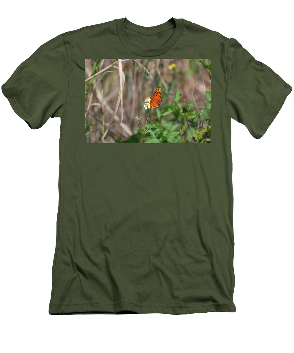 Nature Men's T-Shirt (Athletic Fit) featuring the photograph Butterfly On Flower by Rob Hans
