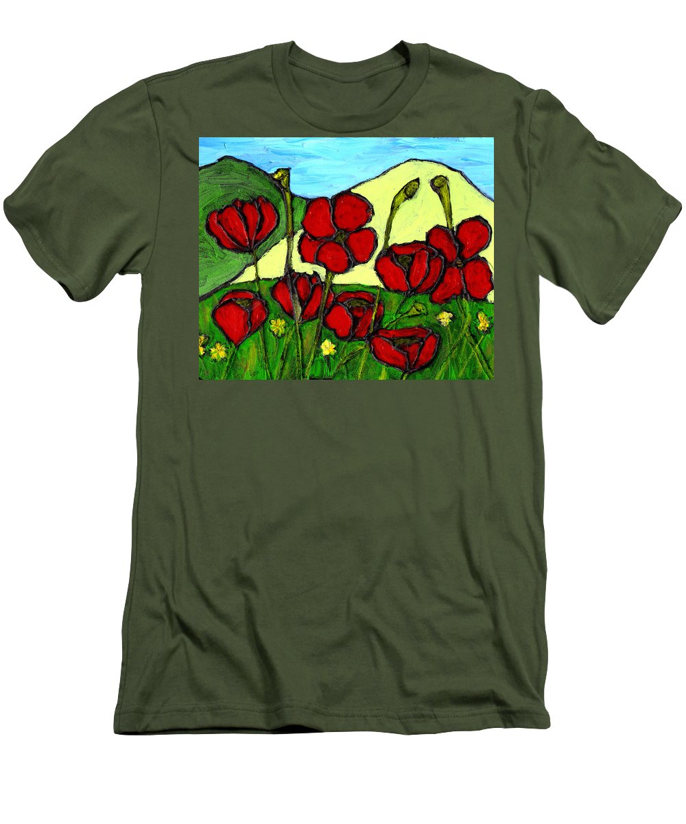 Flowers Men's T-Shirt (Athletic Fit) featuring the photograph By The Side Of The Road by Wayne Potrafka