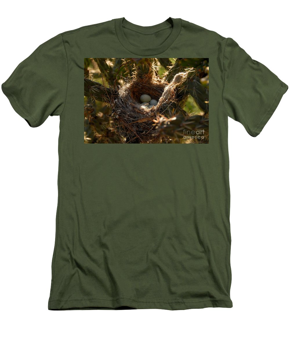 Cactus Men's T-Shirt (Athletic Fit) featuring the photograph Cactus Nest by David Lee Thompson
