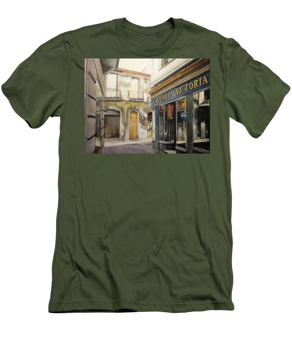 Calzados Men's T-Shirt (Athletic Fit) featuring the painting Calzados Victoria-leon by Tomas Castano