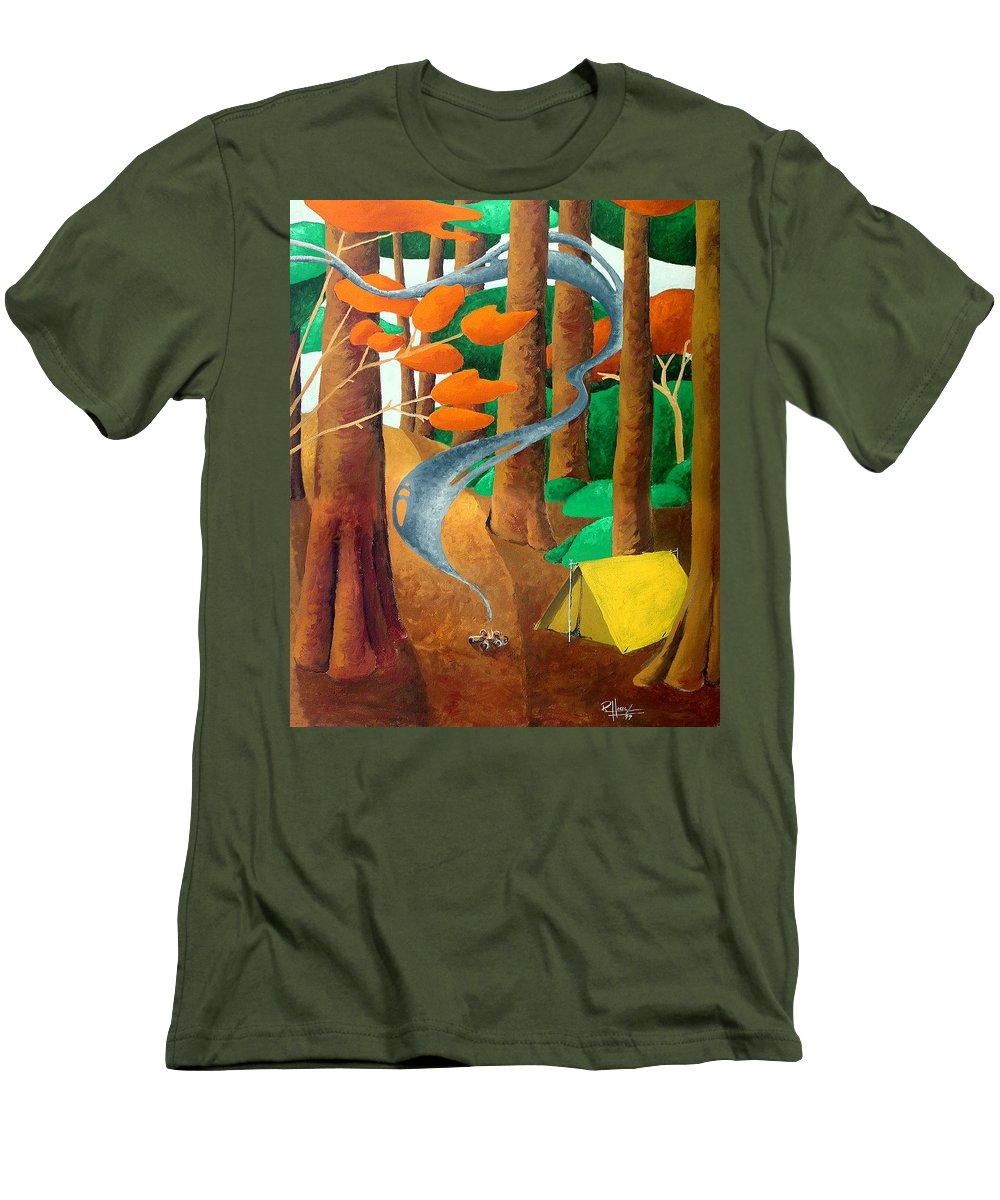 Landscape Men's T-Shirt (Athletic Fit) featuring the painting Camping - Through The Forest Series by Richard Hoedl