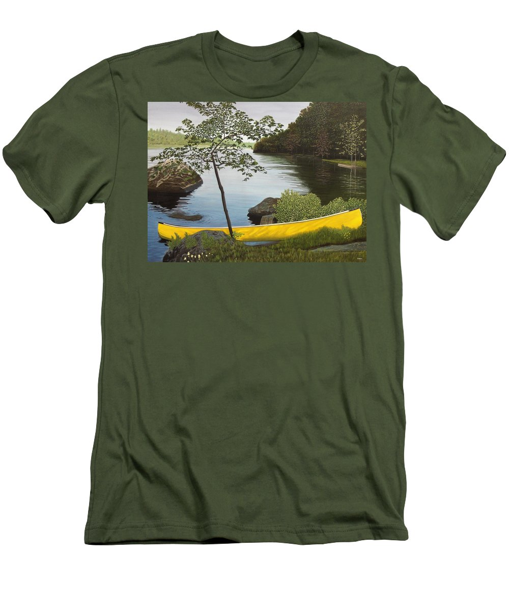 Landscapes Men's T-Shirt (Athletic Fit) featuring the painting Canoe On The Bay by Kenneth M Kirsch