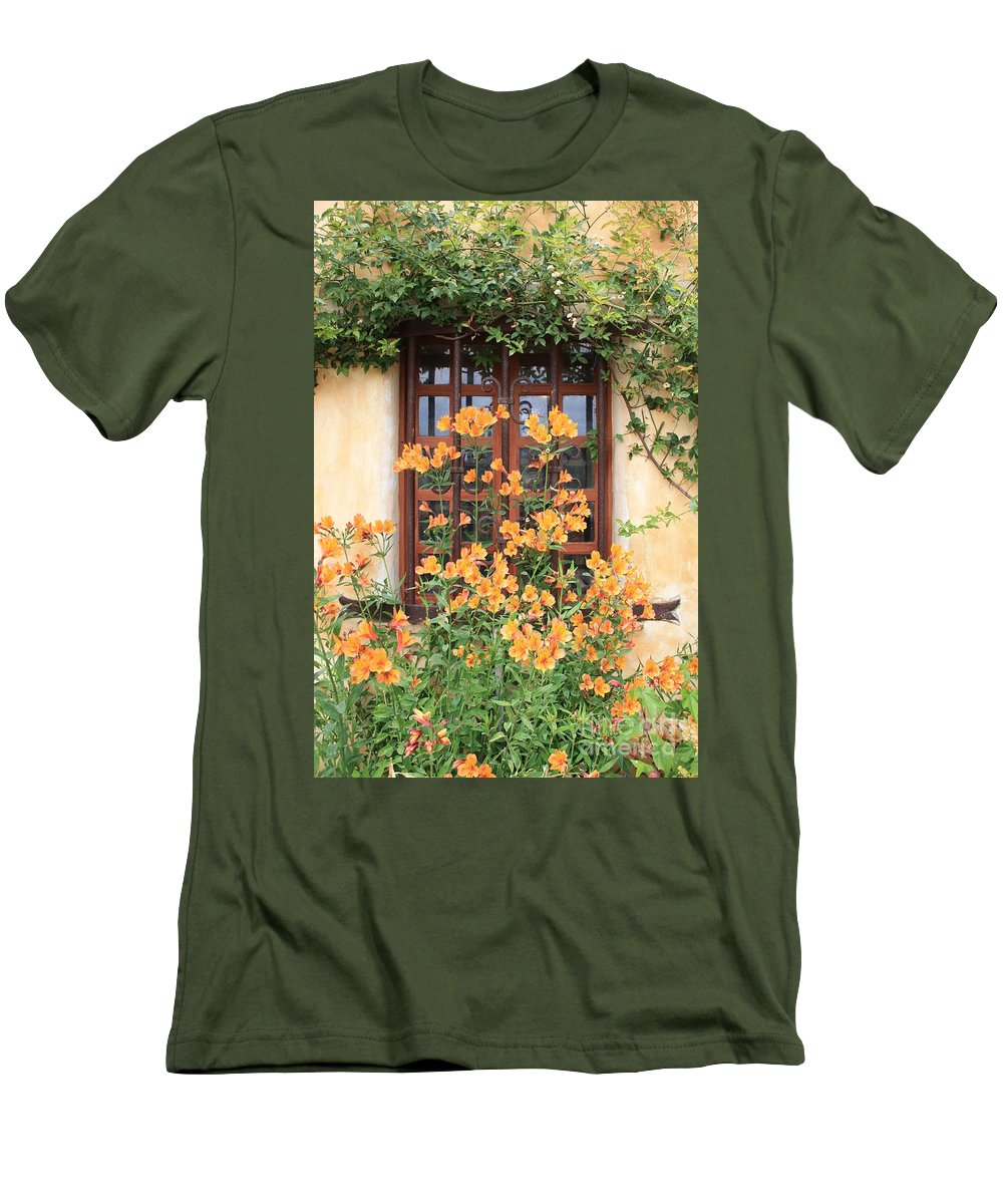 Alstroemeria Men's T-Shirt (Athletic Fit) featuring the photograph Carmel Mission Window by Carol Groenen