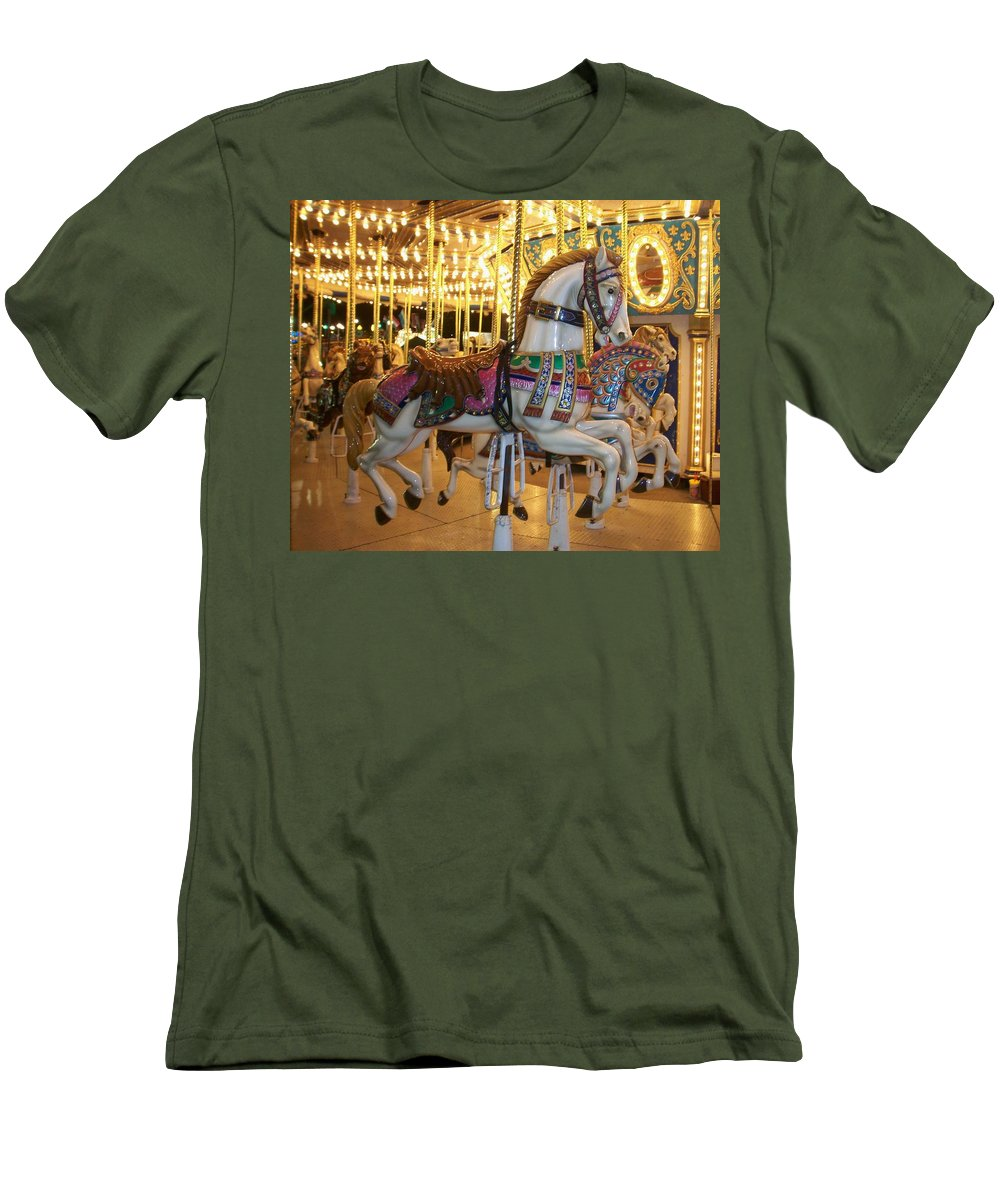 Carosel Horse Men's T-Shirt (Athletic Fit) featuring the photograph Carosel Horse by Anita Burgermeister
