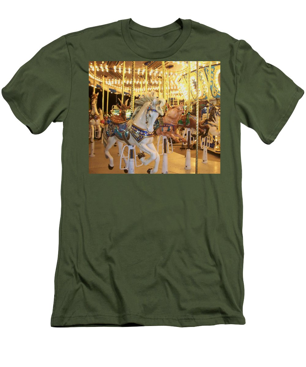 Carosel Horse Men's T-Shirt (Athletic Fit) featuring the photograph Carousel Horse 2 by Anita Burgermeister