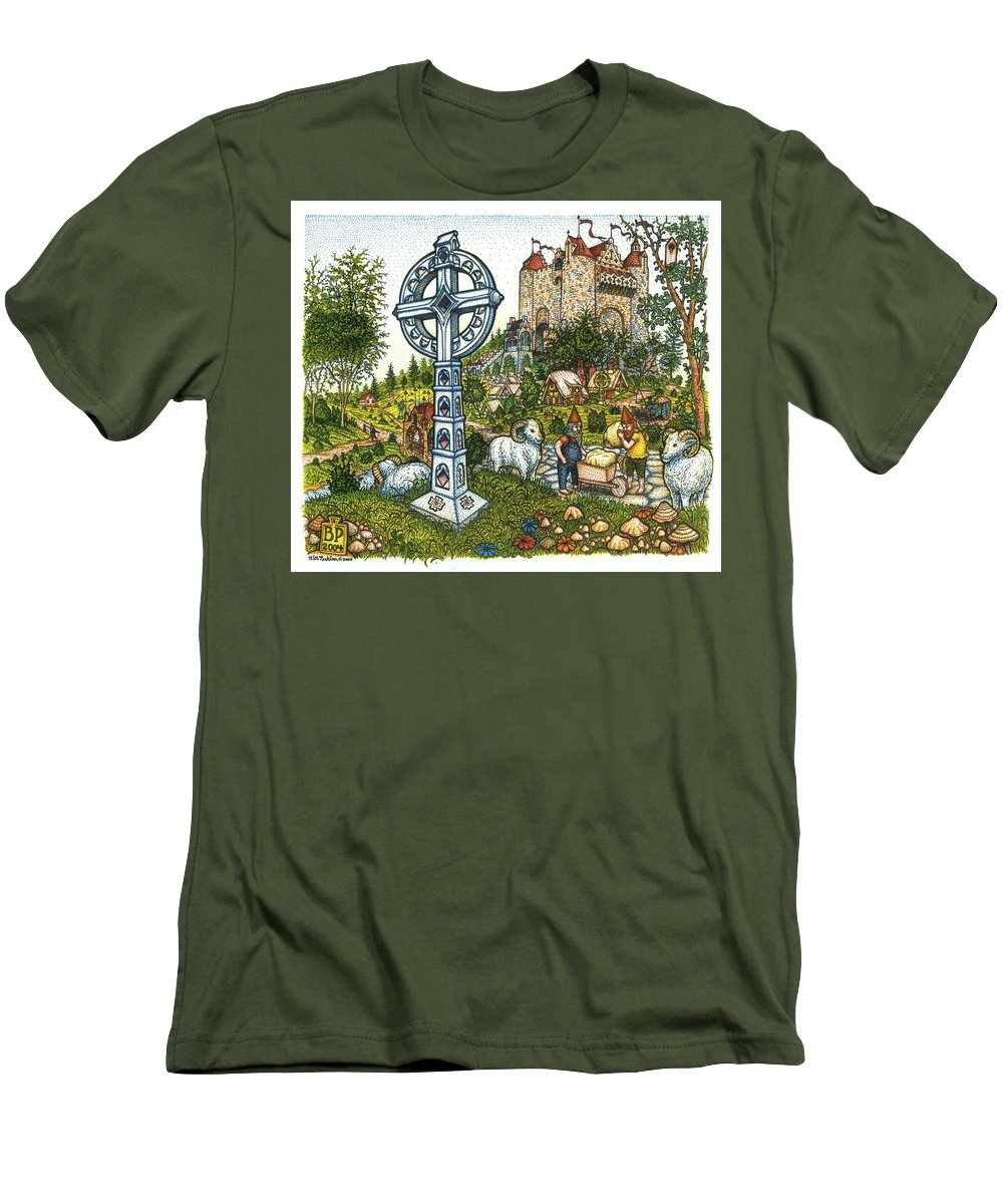 Castle Men's T-Shirt (Athletic Fit) featuring the drawing Castle Cross by Bill Perkins