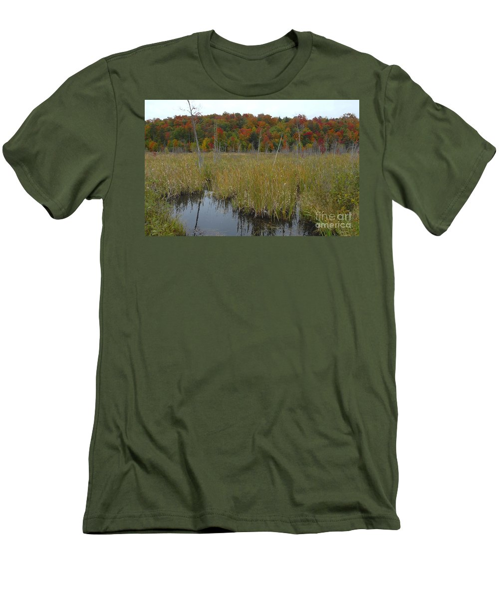 Cattails Men's T-Shirt (Athletic Fit) featuring the photograph Cattails by David Lee Thompson