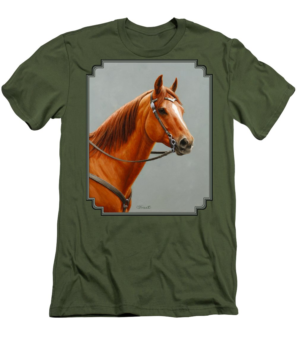 Horse Men's T-Shirt (Athletic Fit) featuring the painting Chestnut Dun Horse Painting by Crista Forest