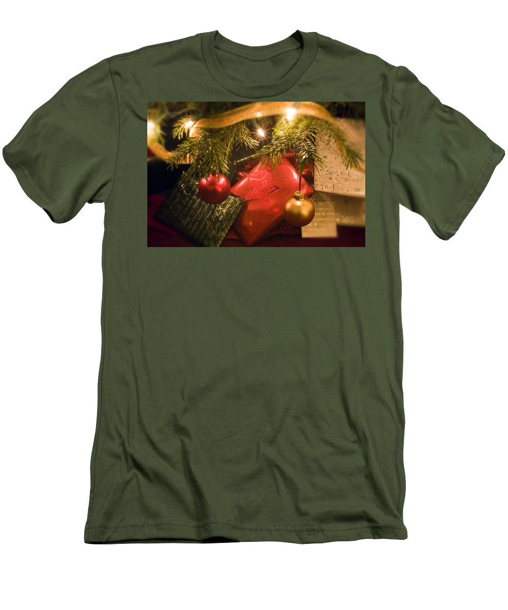 Christmas Men's T-Shirt (Athletic Fit) featuring the photograph Christmas Tree Decorations And Gifts by Mal Bray