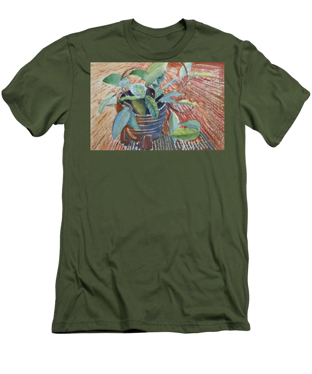 Vine Men's T-Shirt (Athletic Fit) featuring the painting Clay Pot by Ruth Kamenev