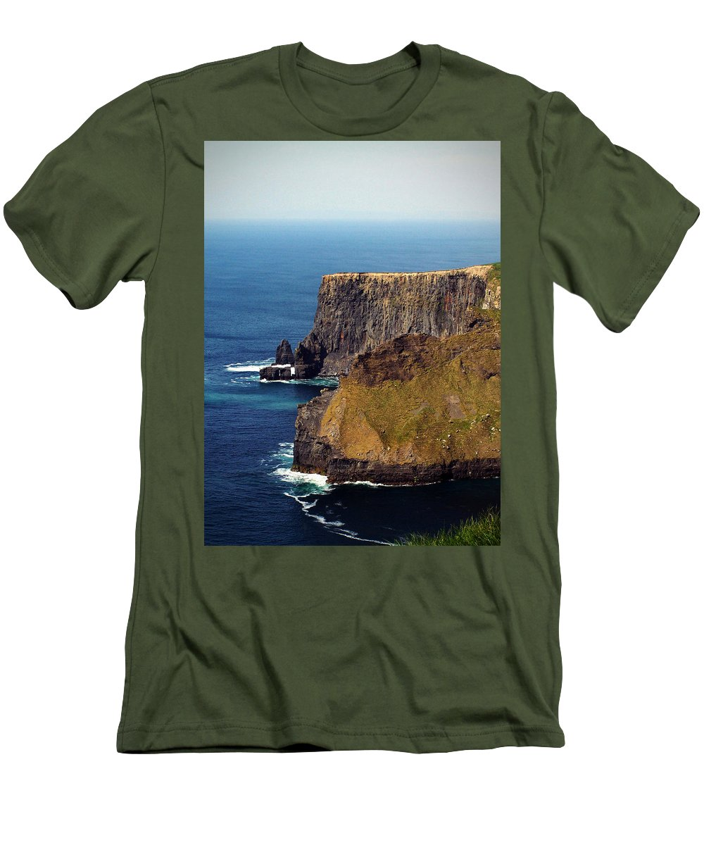 Irish Men's T-Shirt (Athletic Fit) featuring the photograph Cliffs Of Moher Ireland View Of Aill Na Searrach by Teresa Mucha