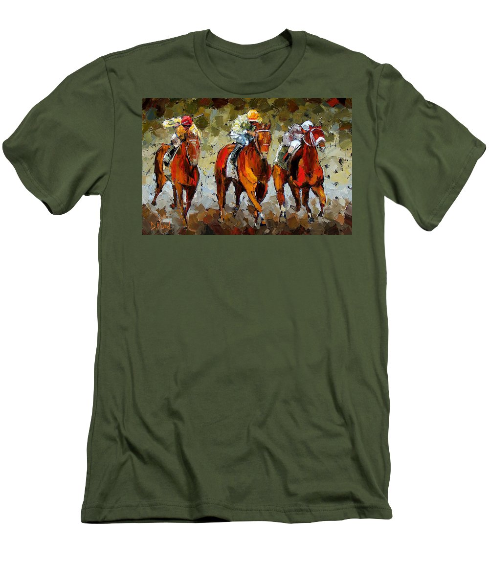 Horses Men's T-Shirt (Athletic Fit) featuring the painting Close Race by Debra Hurd