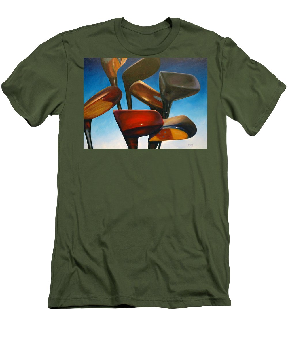 Golf Clubs Brown Men's T-Shirt (Athletic Fit) featuring the painting Clubs Rising by Shannon Grissom