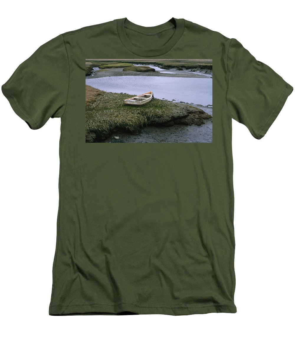 Landscape New England Marsh Row Boat Rye Harbor Men's T-Shirt (Athletic Fit) featuring the photograph Cnrf0503 by Henry Butz