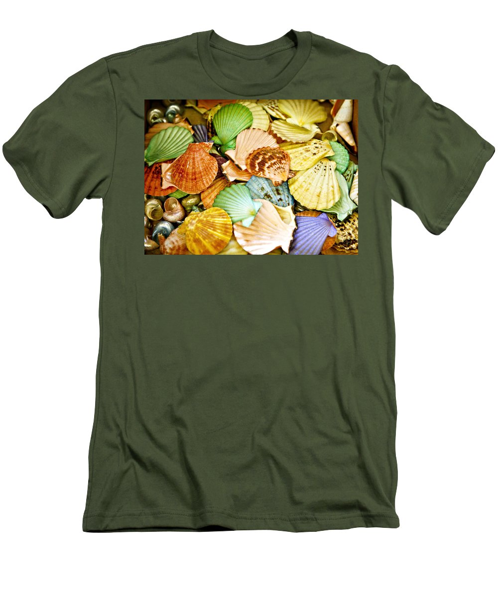 Shell Men's T-Shirt (Athletic Fit) featuring the photograph Colored Shells by Marilyn Hunt