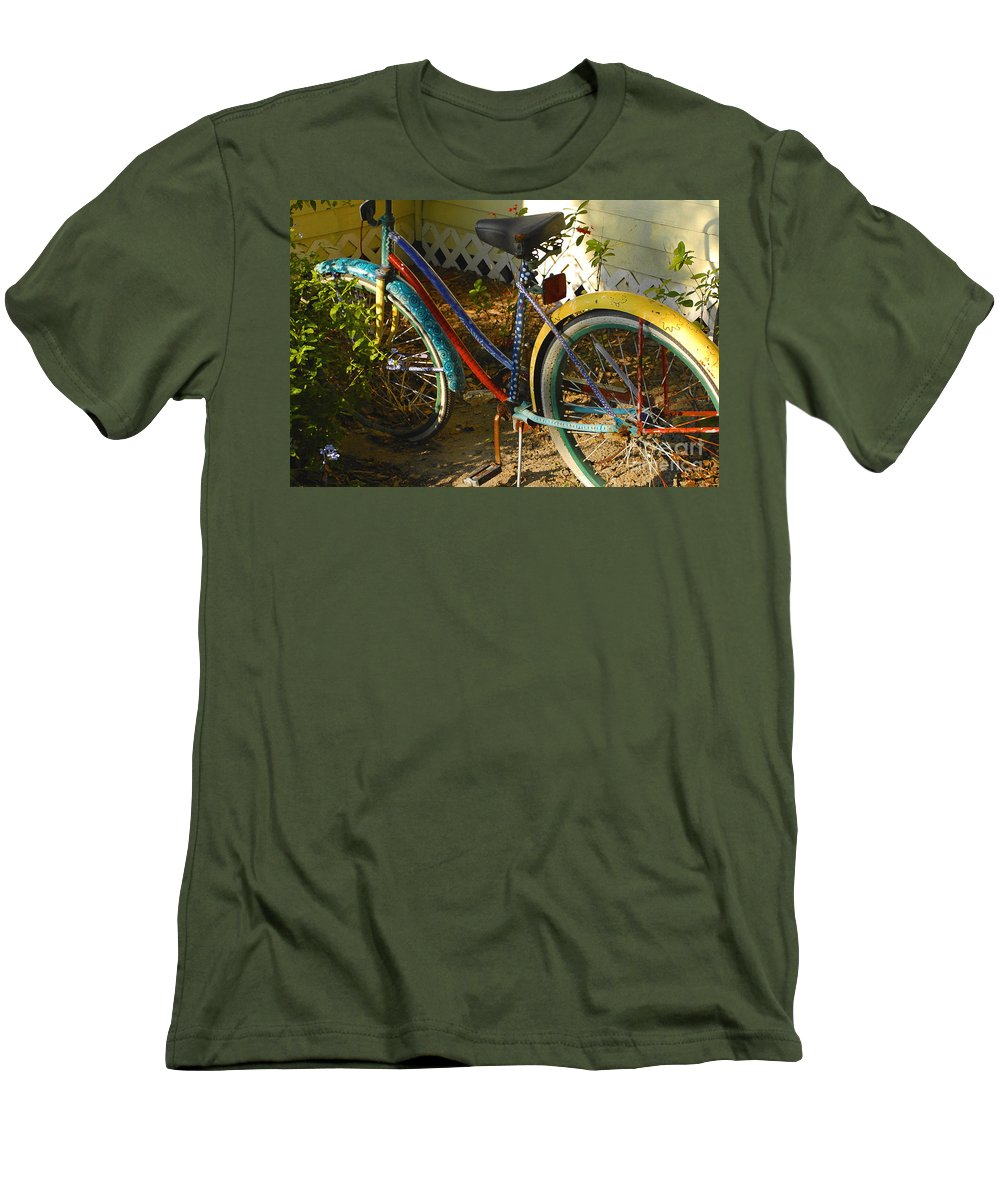 Bicycle Men's T-Shirt (Athletic Fit) featuring the photograph Colorful Bike by David Lee Thompson