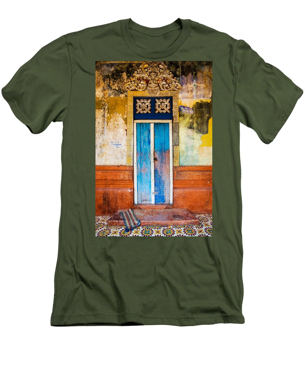 Cambodia Men's T-Shirt (Athletic Fit) featuring the photograph Colourful Door by Dave Bowman