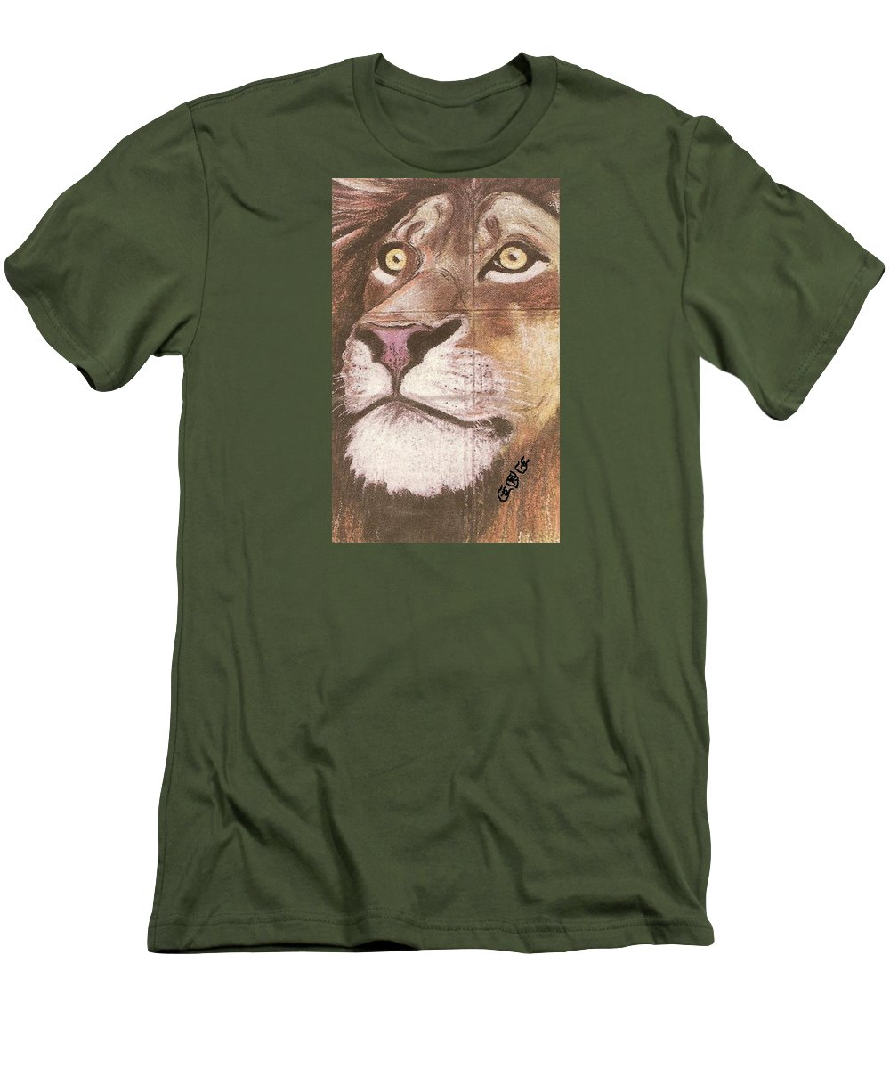 Lions Men's T-Shirt (Athletic Fit) featuring the painting Concrete Lion by George I Perez