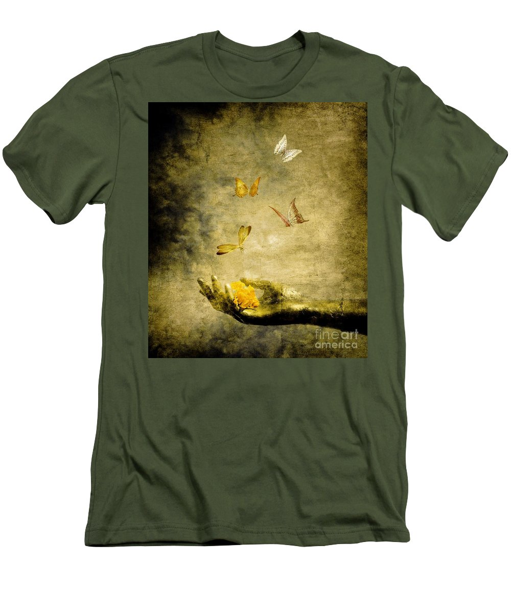 Inspirational Men's T-Shirt (Athletic Fit) featuring the painting Connect by Jacky Gerritsen