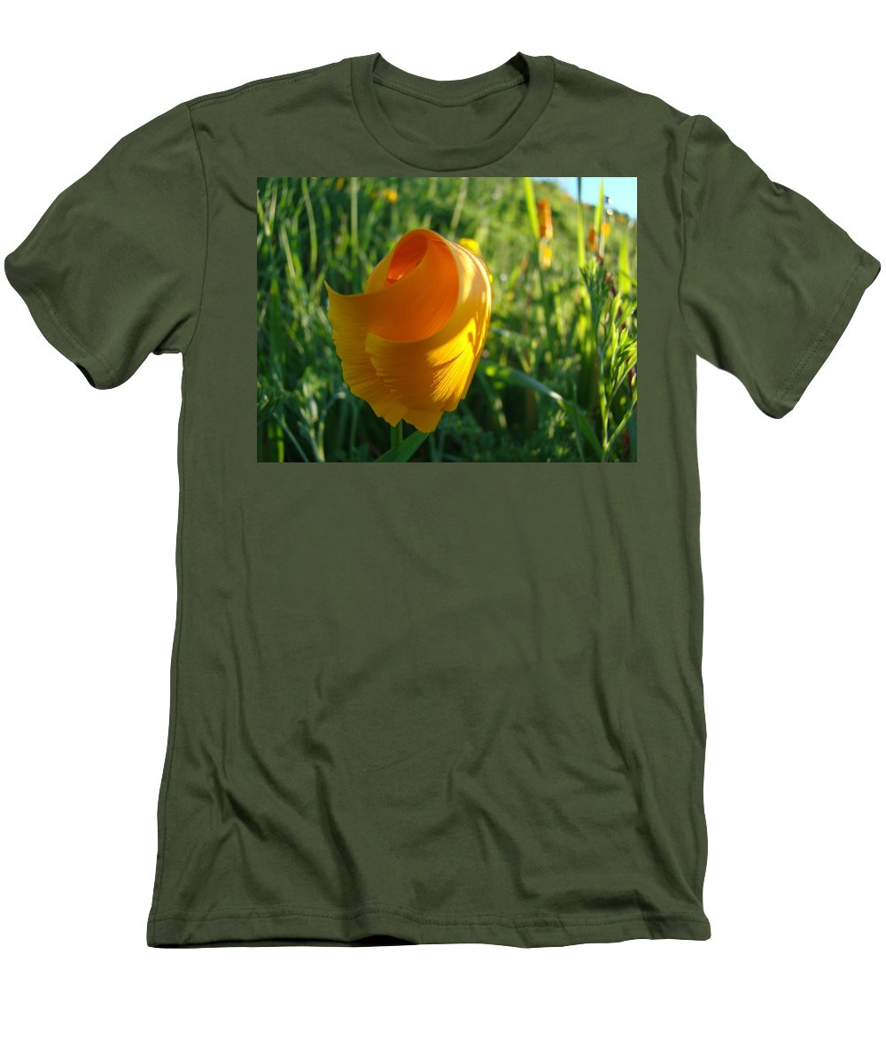 �poppies Artwork� Men's T-Shirt (Athletic Fit) featuring the photograph Contemporary Orange Poppy Flower Unfolding In Sunlight 10 Baslee Troutman by Baslee Troutman