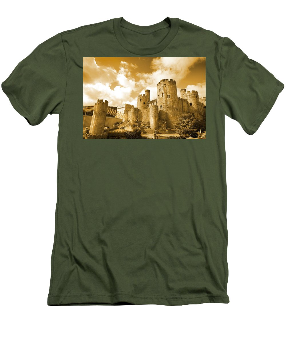 Castle Men's T-Shirt (Athletic Fit) featuring the photograph Conwy Castle And The Telford Suspension Bridge North Wales by Mal Bray