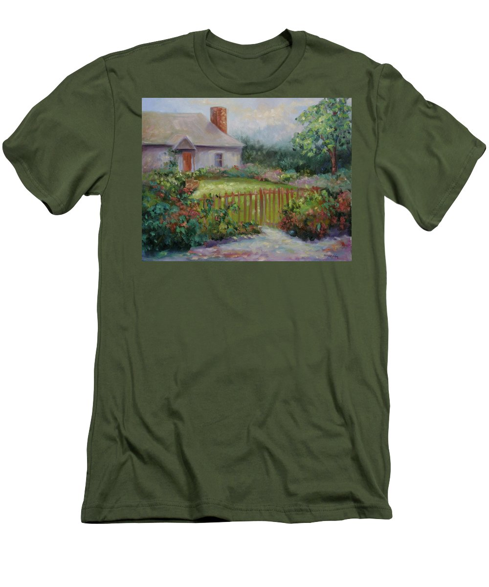 Cottswold Men's T-Shirt (Athletic Fit) featuring the painting Cottswold Cottage by Ginger Concepcion