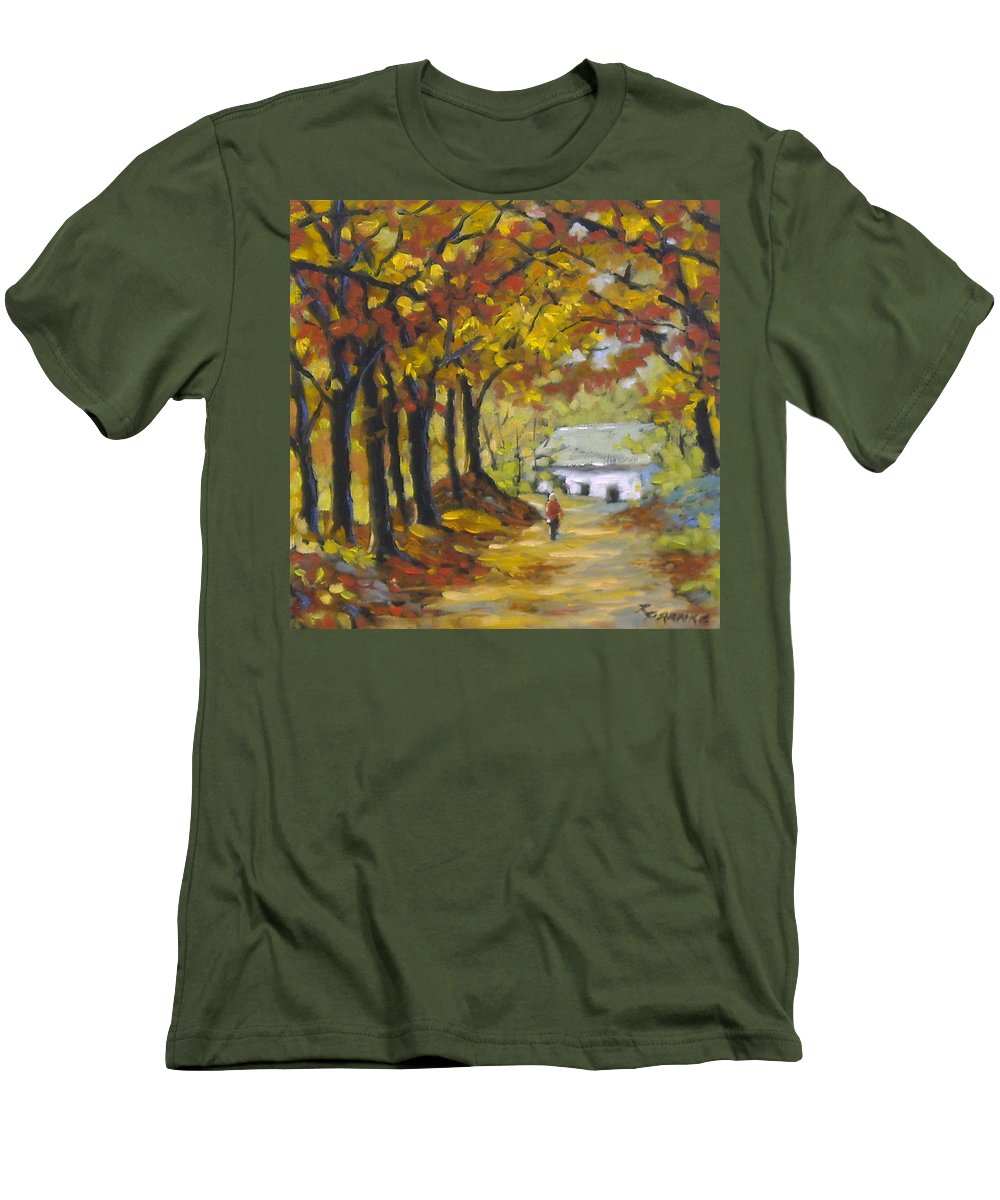 Art Men's T-Shirt (Athletic Fit) featuring the painting Country Lane by Richard T Pranke