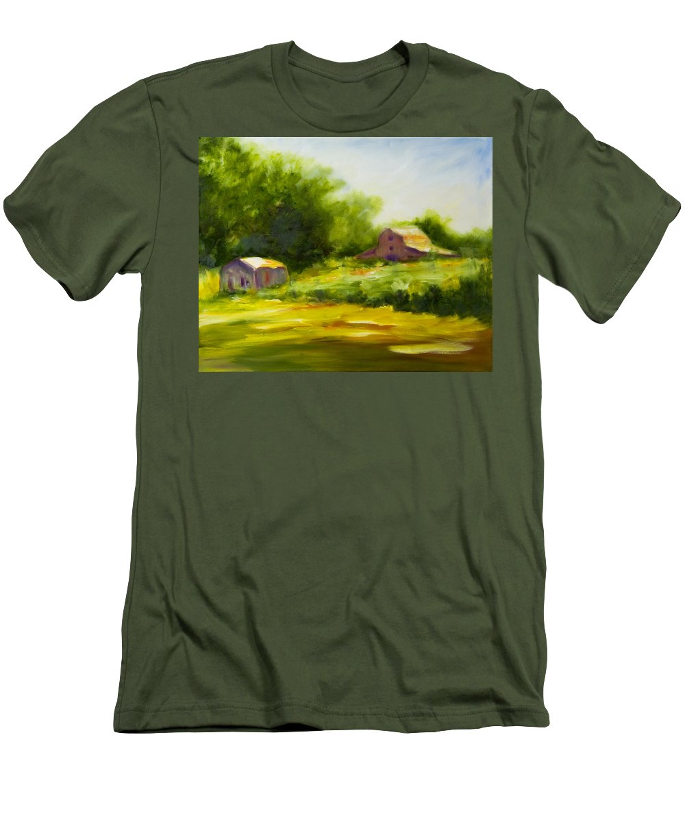 Landscape In Green Men's T-Shirt (Athletic Fit) featuring the painting Courage by Shannon Grissom
