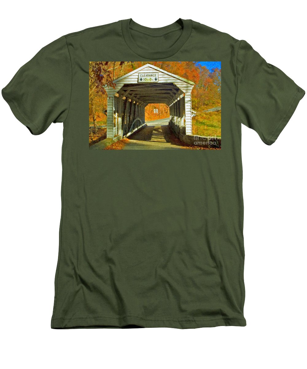 Covered Bridge Revolutionary Civil War Impasto Men's T-Shirt (Athletic Fit) featuring the photograph Covered Bridge Impasto Oil by David Zanzinger