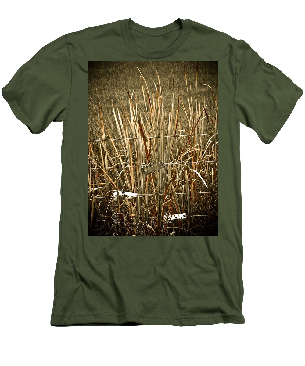 Americana Men's T-Shirt (Athletic Fit) featuring the photograph Cowboy Fence by Marilyn Hunt