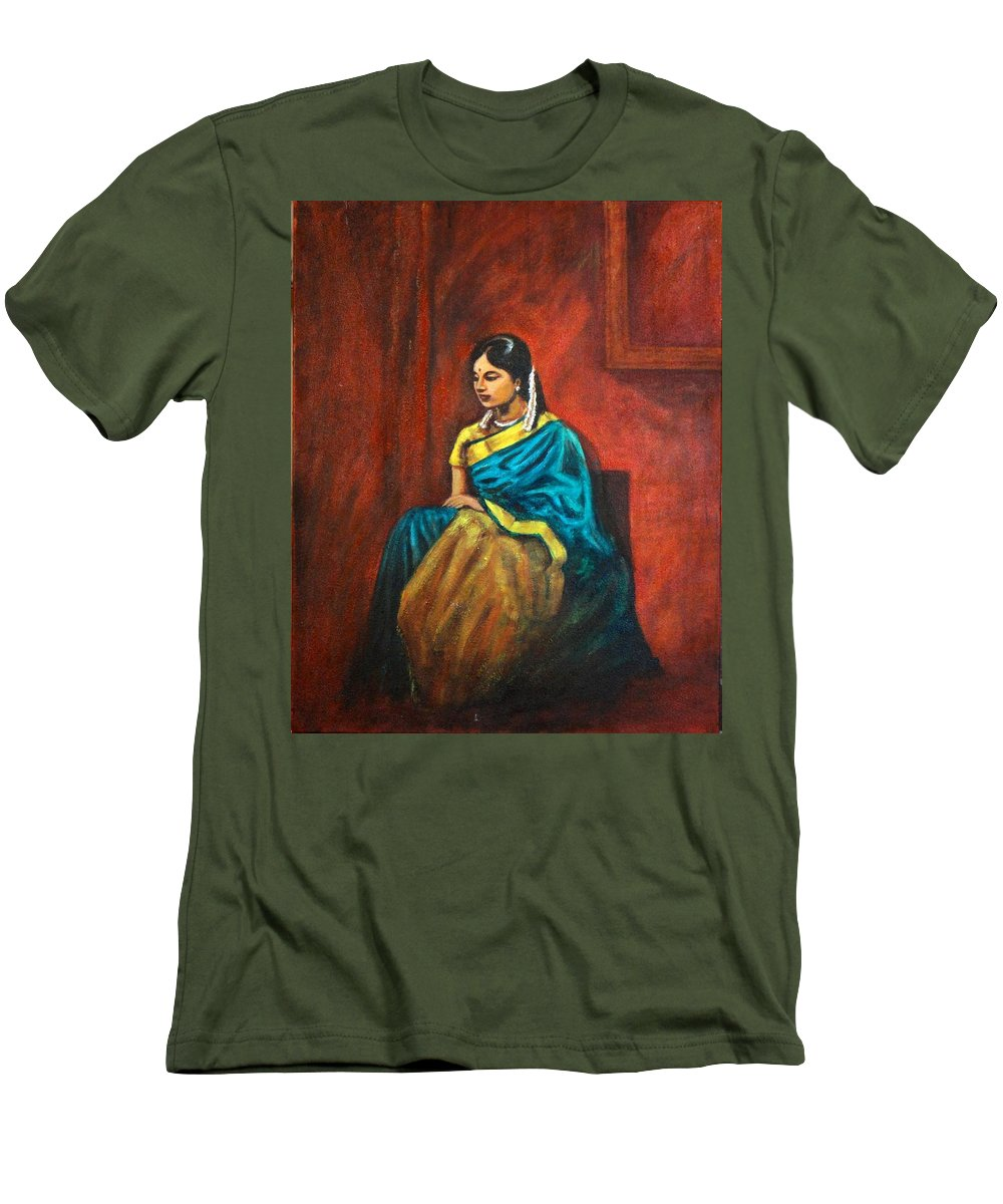 Coy Men's T-Shirt (Athletic Fit) featuring the painting Coy by Usha Shantharam