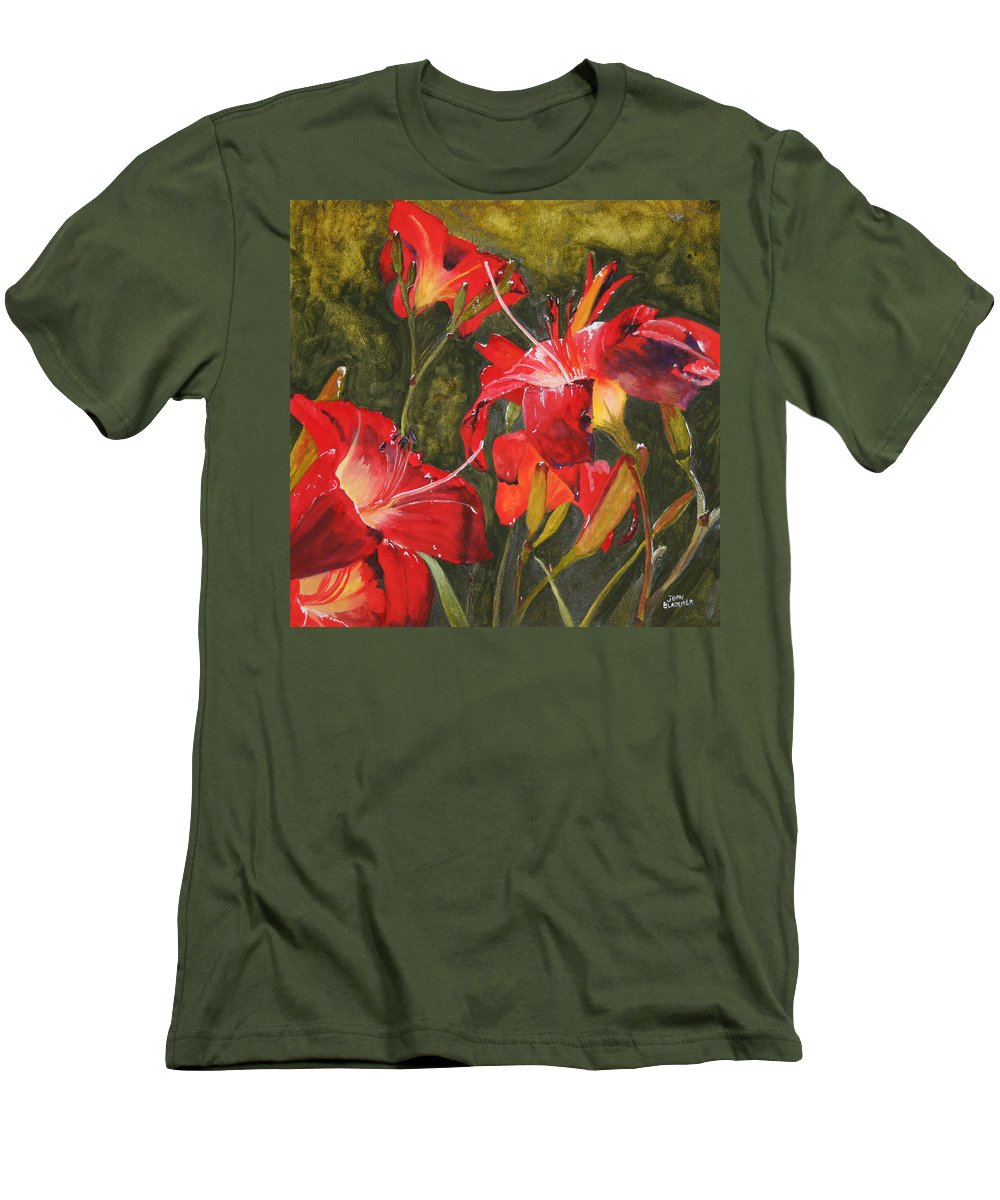 Red Men's T-Shirt (Athletic Fit) featuring the painting Crimson Light by Jean Blackmer
