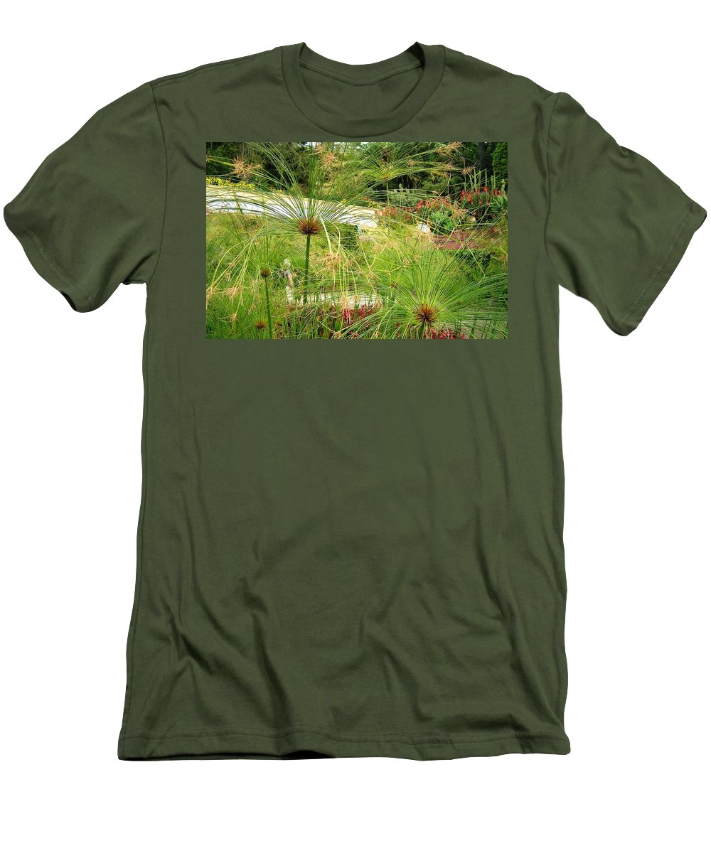Landscape Men's T-Shirt (Athletic Fit) featuring the photograph Cyperus Papyrus - Bulrush by Valerie Ornstein