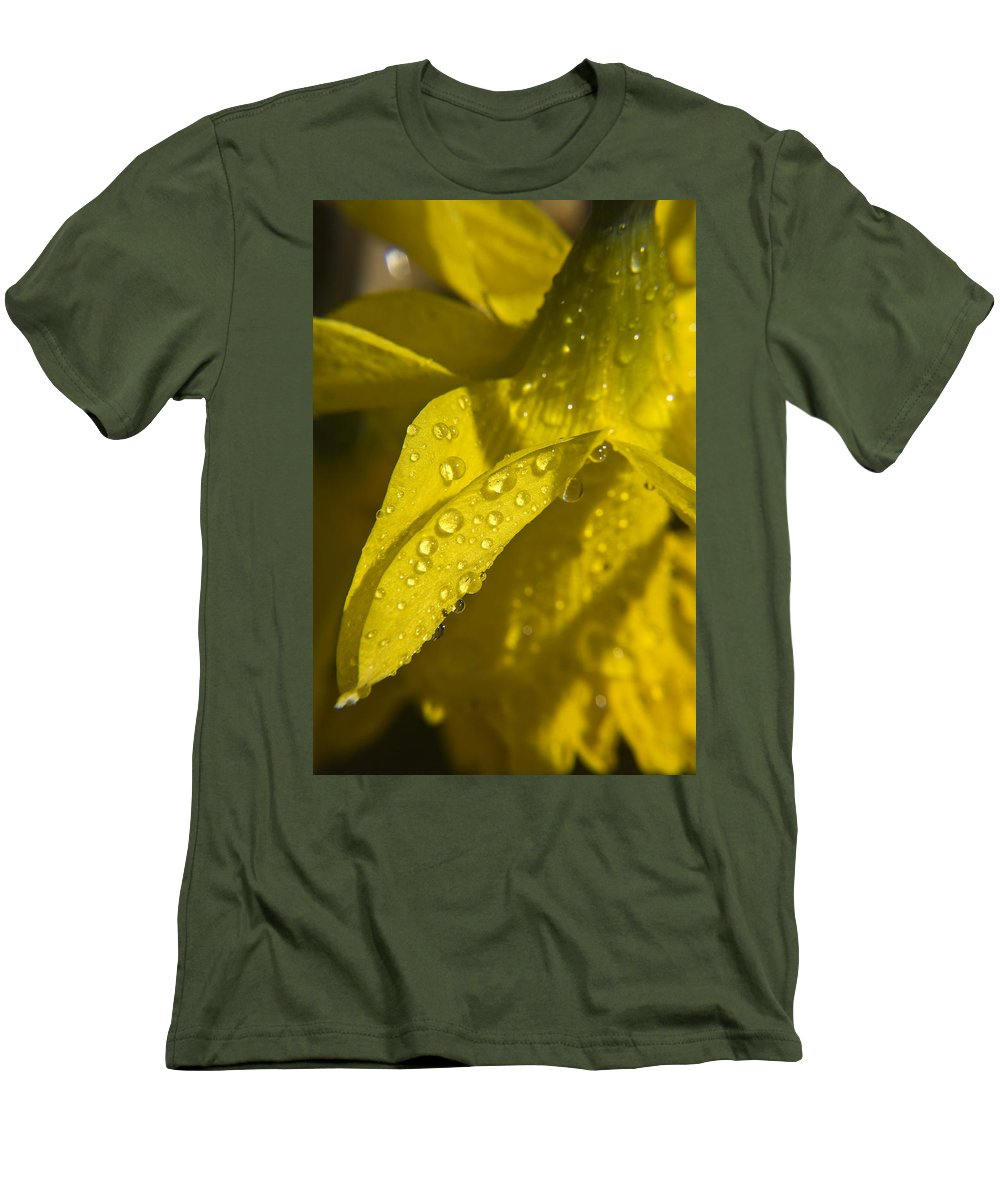 Daffodil Men's T-Shirt (Athletic Fit) featuring the photograph Daffodil Dew by Teresa Mucha