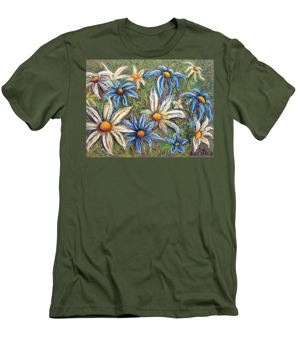 Daisies Men's T-Shirt (Athletic Fit) featuring the pastel Daisies Pastel by Nancy Mueller