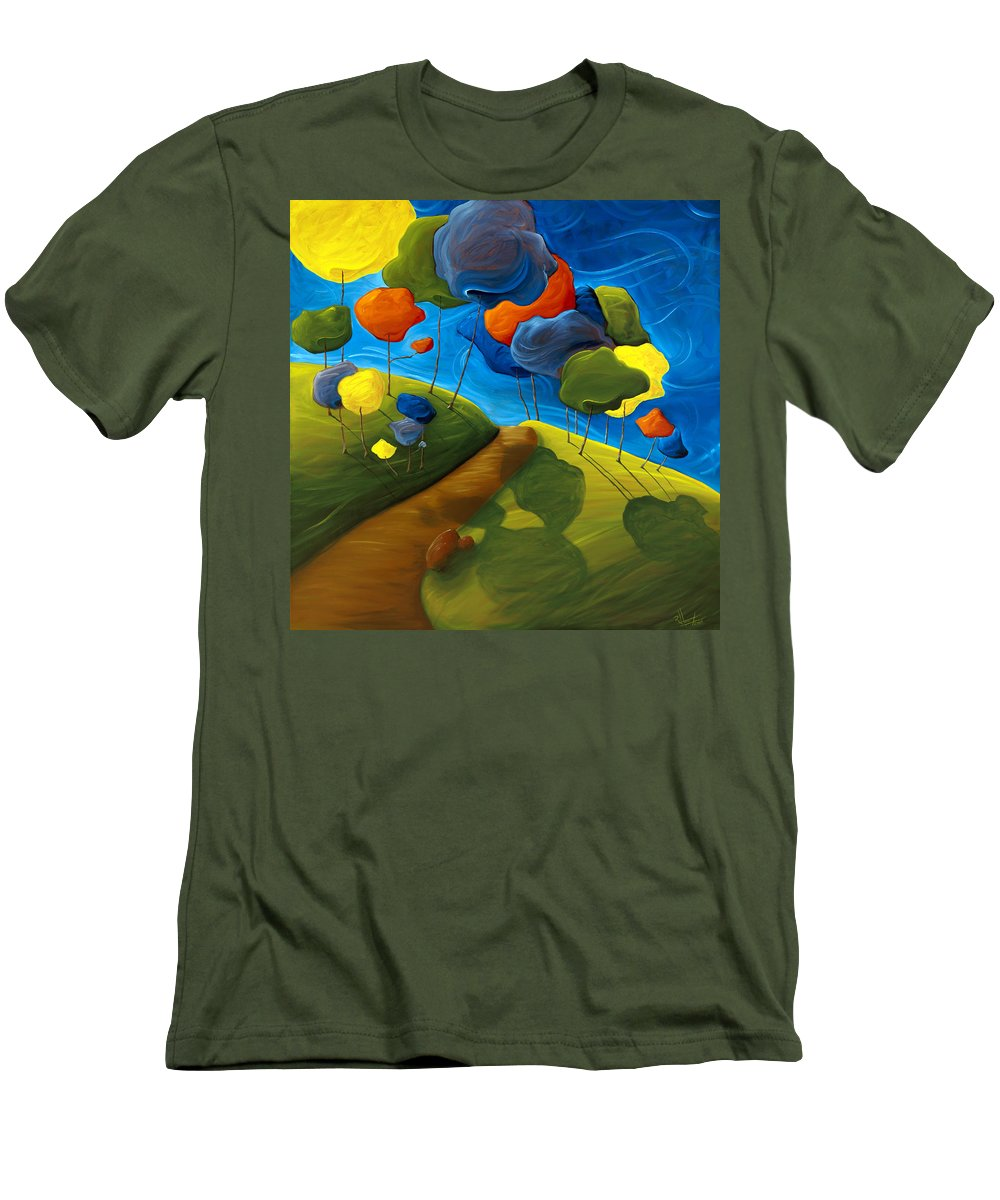 Landscape Men's T-Shirt (Athletic Fit) featuring the painting Dancing Shadows by Richard Hoedl