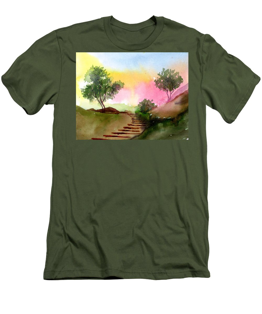 Landscape Men's T-Shirt (Athletic Fit) featuring the painting Dawn by Anil Nene