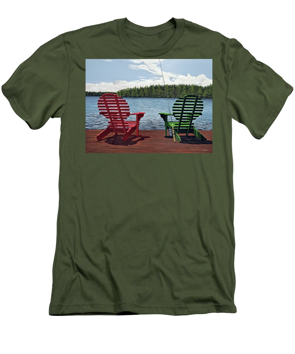 Landscapes Men's T-Shirt (Athletic Fit) featuring the painting Dockside by Kenneth M Kirsch
