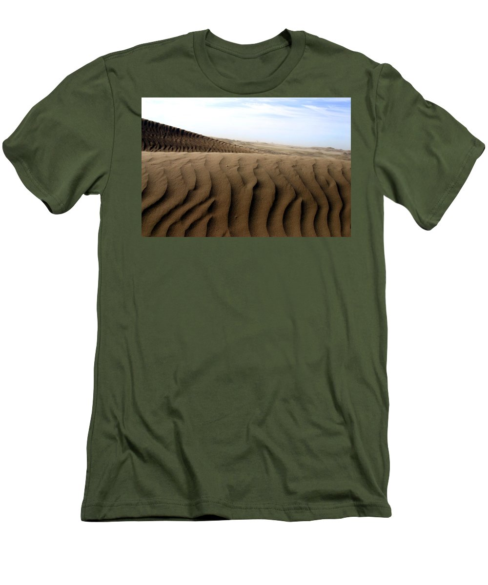 Sand Dunes Men's T-Shirt (Athletic Fit) featuring the photograph Dunes Of Alaska by Anthony Jones