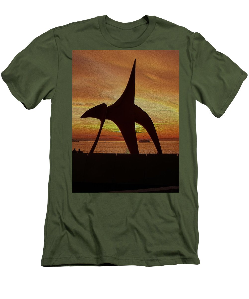 Seattle Men's T-Shirt (Athletic Fit) featuring the digital art Eagle Sunset Over Elliott Bay by Tim Allen
